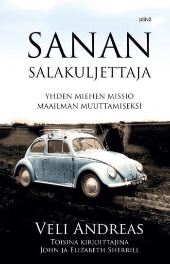 Sanan salakuljettaja John ja Elizabeth Sherrill -kirjan kansi, kannessa taivaansininen VW Beetle