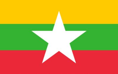 Myanmarin lippu, Kelta-viher-punaraidat, valkoinen tähti keskellä