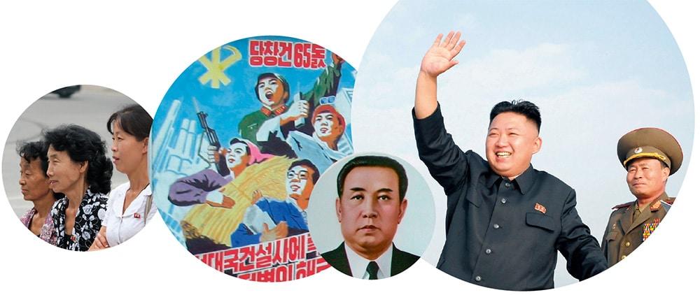 Pohjois-Korea-grafiikkaa, King Il-Sung ja Kim Il-Jong, propagandajuliste ja ihmisiä