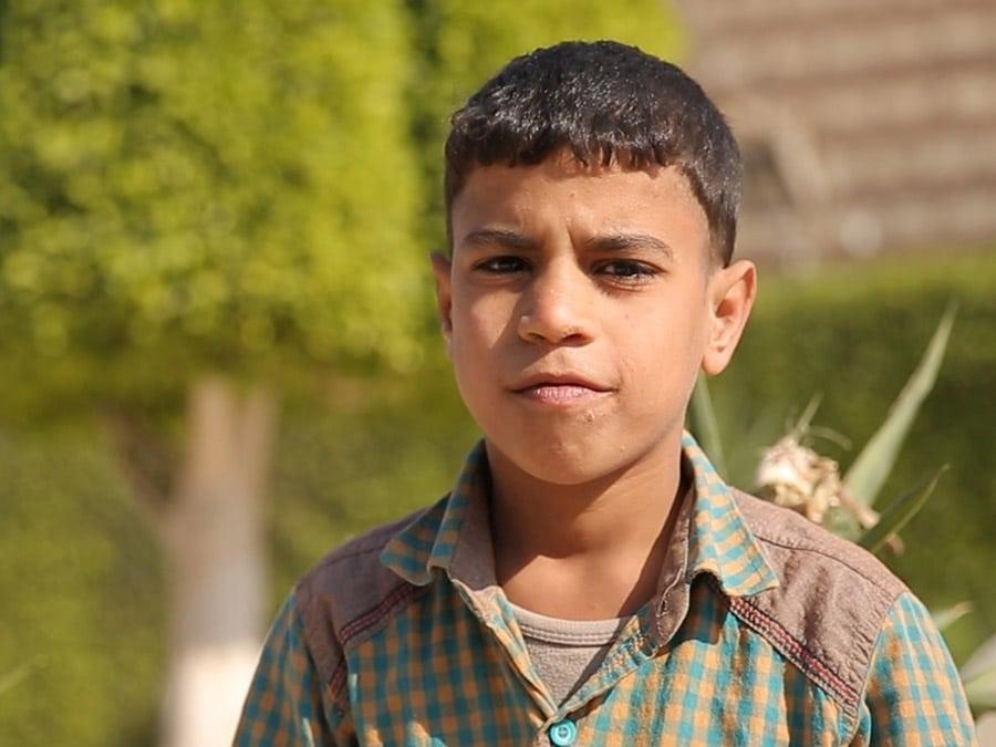 Egyptiläinen poika vehreä puu ja pensas takana