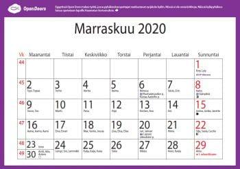 Kalenteri 2020 kuva 2 marraskuun kalenteri