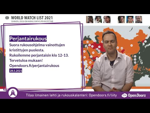 Video: Perjantairukous – suora rukousohjelma 28.5.2021 klo 12